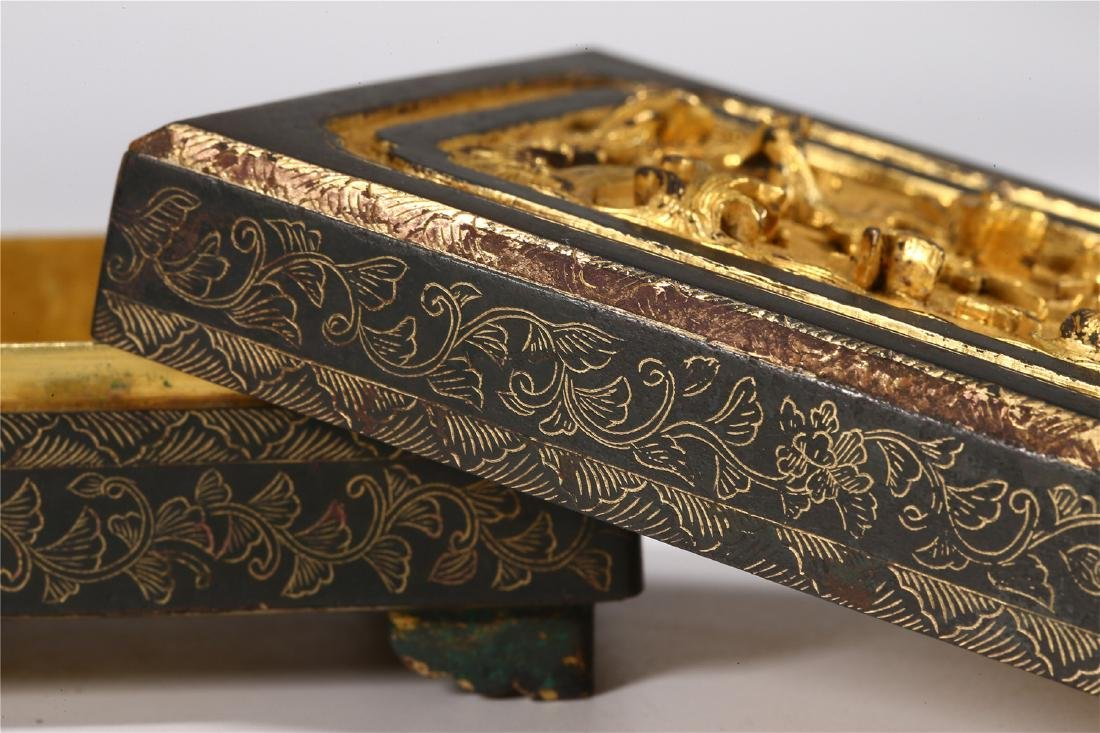 CHINESE PARCEL GILT BRONZE BOX AND COVER - 7
