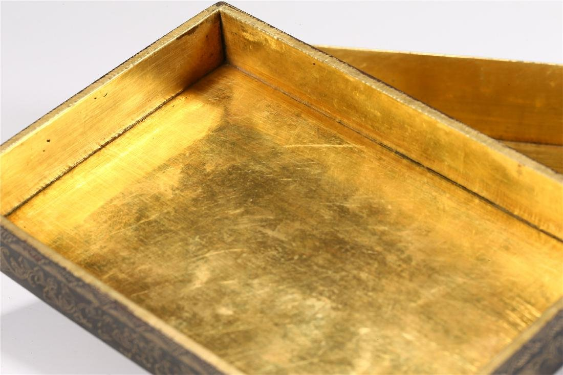 CHINESE PARCEL GILT BRONZE BOX AND COVER - 8