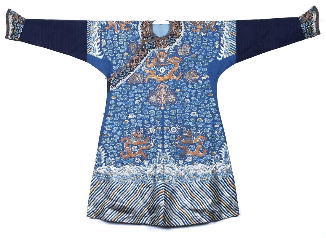 CHINESE EMBROIDERED SILK DRAGON ROBE