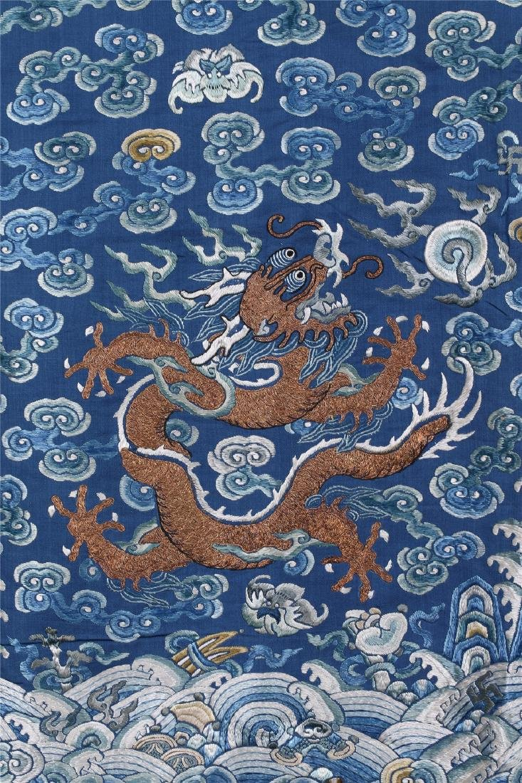 CHINESE EMBROIDERED SILK DRAGON ROBE - 5