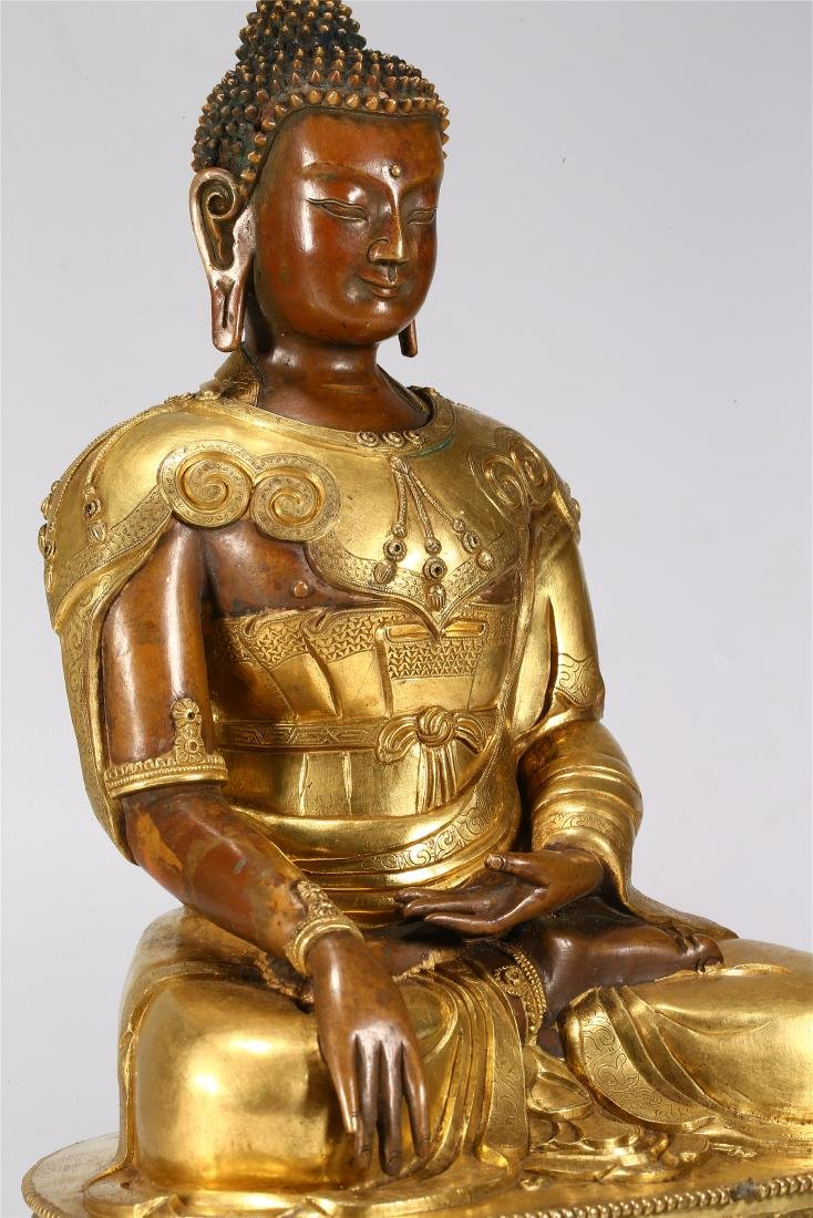 CHINESE GILT BRONZE FIGURE OF BUDDHA - 6