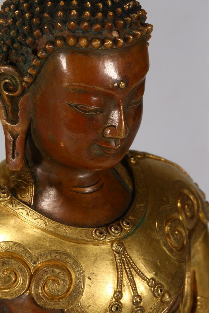 CHINESE GILT BRONZE FIGURE OF BUDDHA - 7