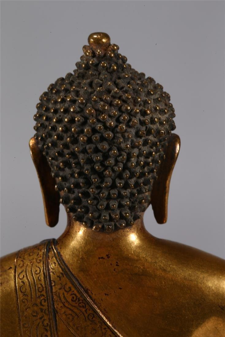 CHINESE GILT BRONZE FIGURE OF BUDDHA - 9