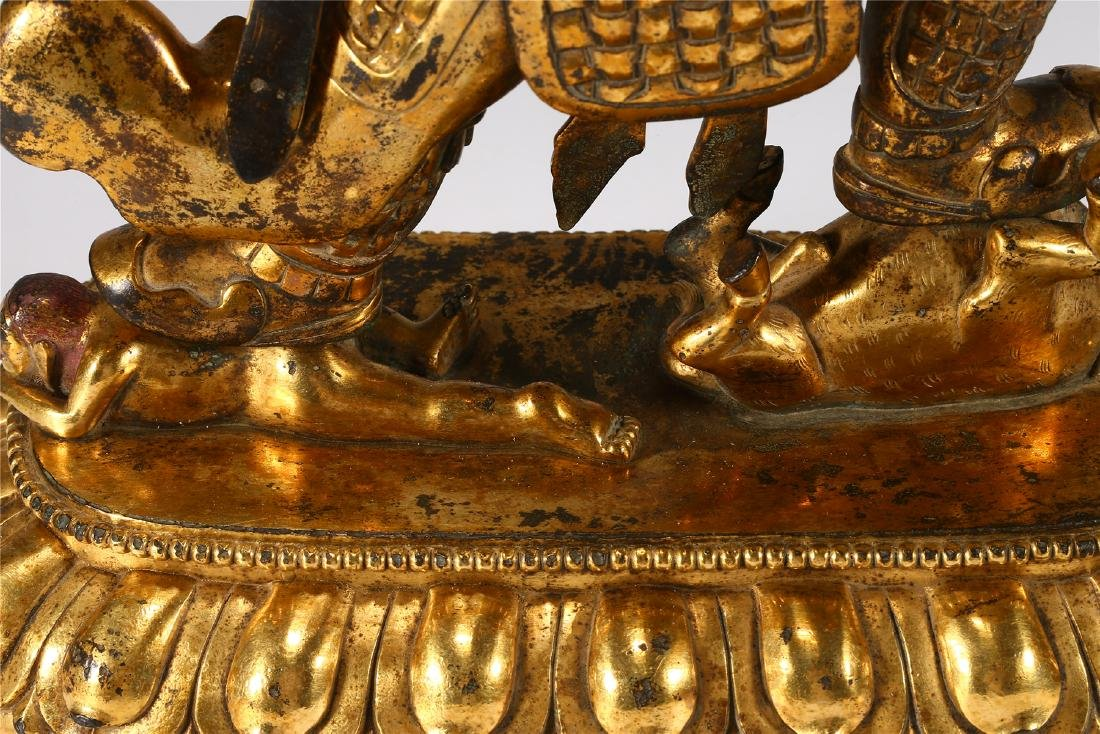 CHINESE GILT BRONZE FIGURE OF MAHAKALA - 10