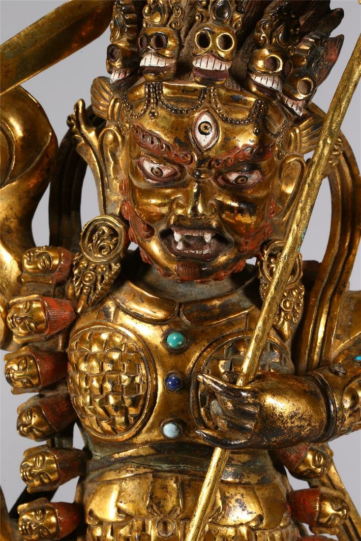 CHINESE GILT BRONZE FIGURE OF MAHAKALA - 2
