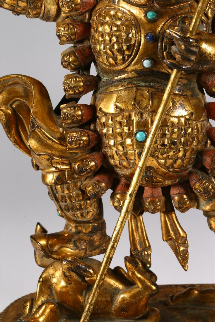 CHINESE GILT BRONZE FIGURE OF MAHAKALA - 4