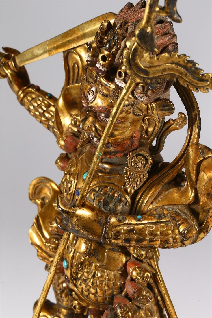 CHINESE GILT BRONZE FIGURE OF MAHAKALA - 7
