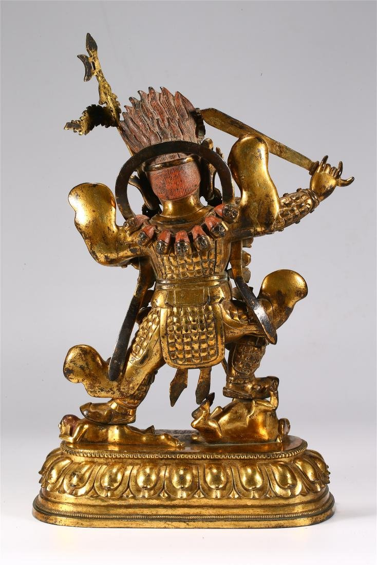 CHINESE GILT BRONZE FIGURE OF MAHAKALA - 8