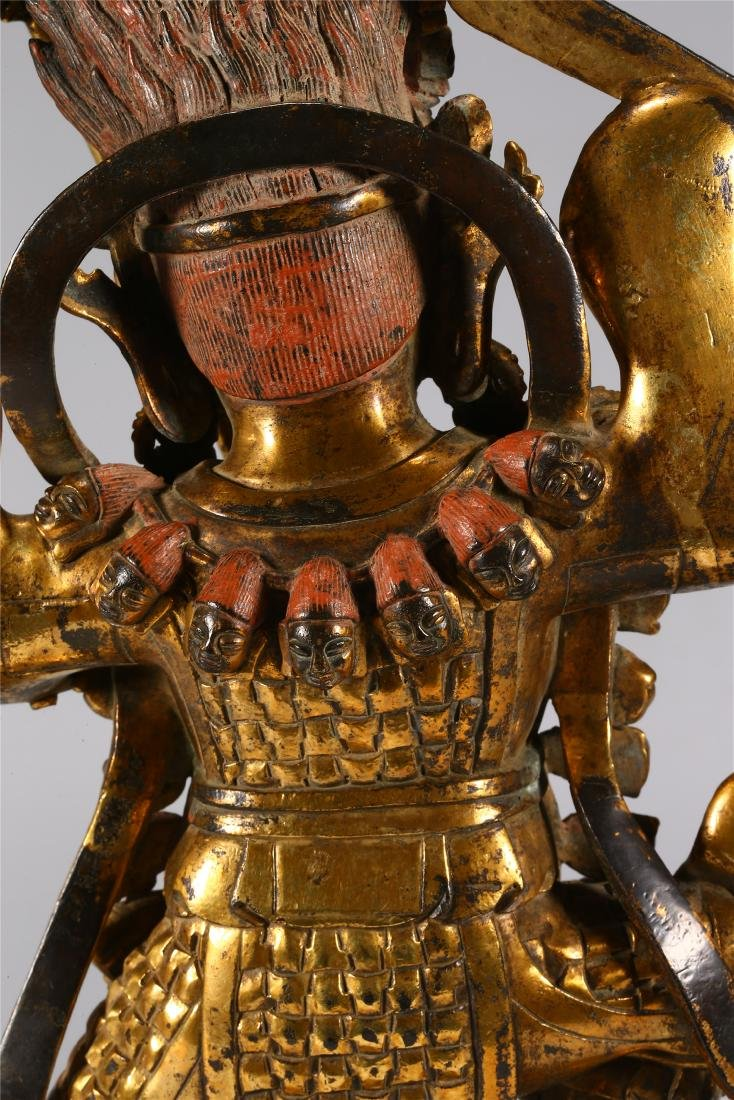 CHINESE GILT BRONZE FIGURE OF MAHAKALA - 9
