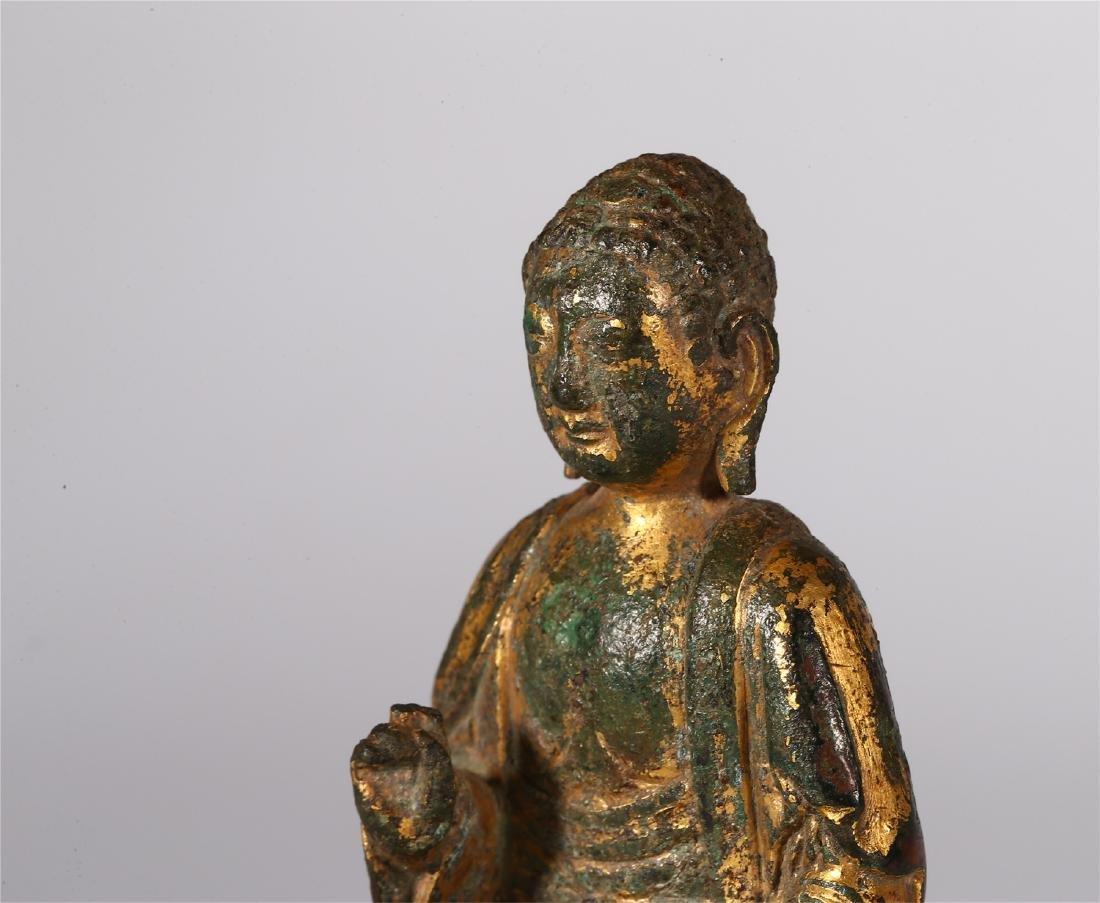 CHINESE GILT BRONZE FIGURE OF BUDDHA - 4