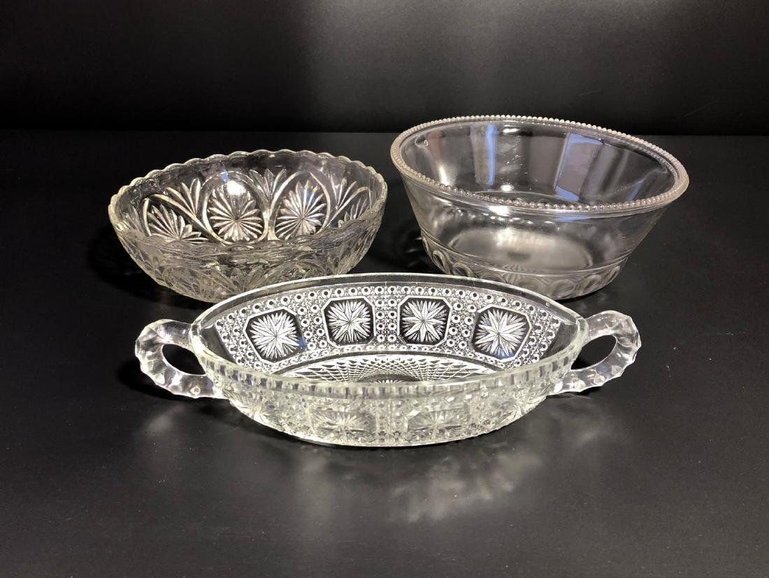 THREE CRYSTAL GLASS DISHES