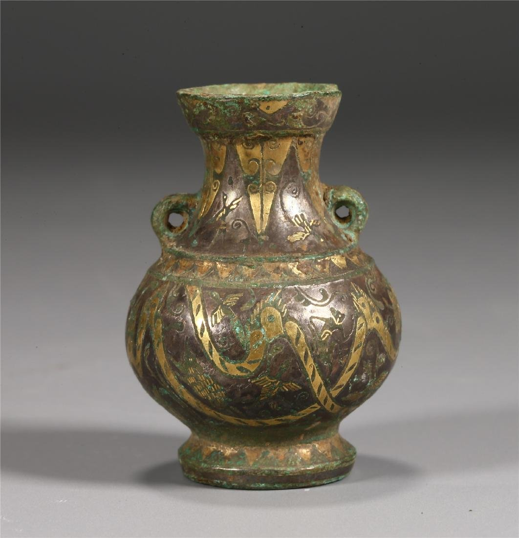 CHINESE GOLD INLAID BRONZE VESSEL