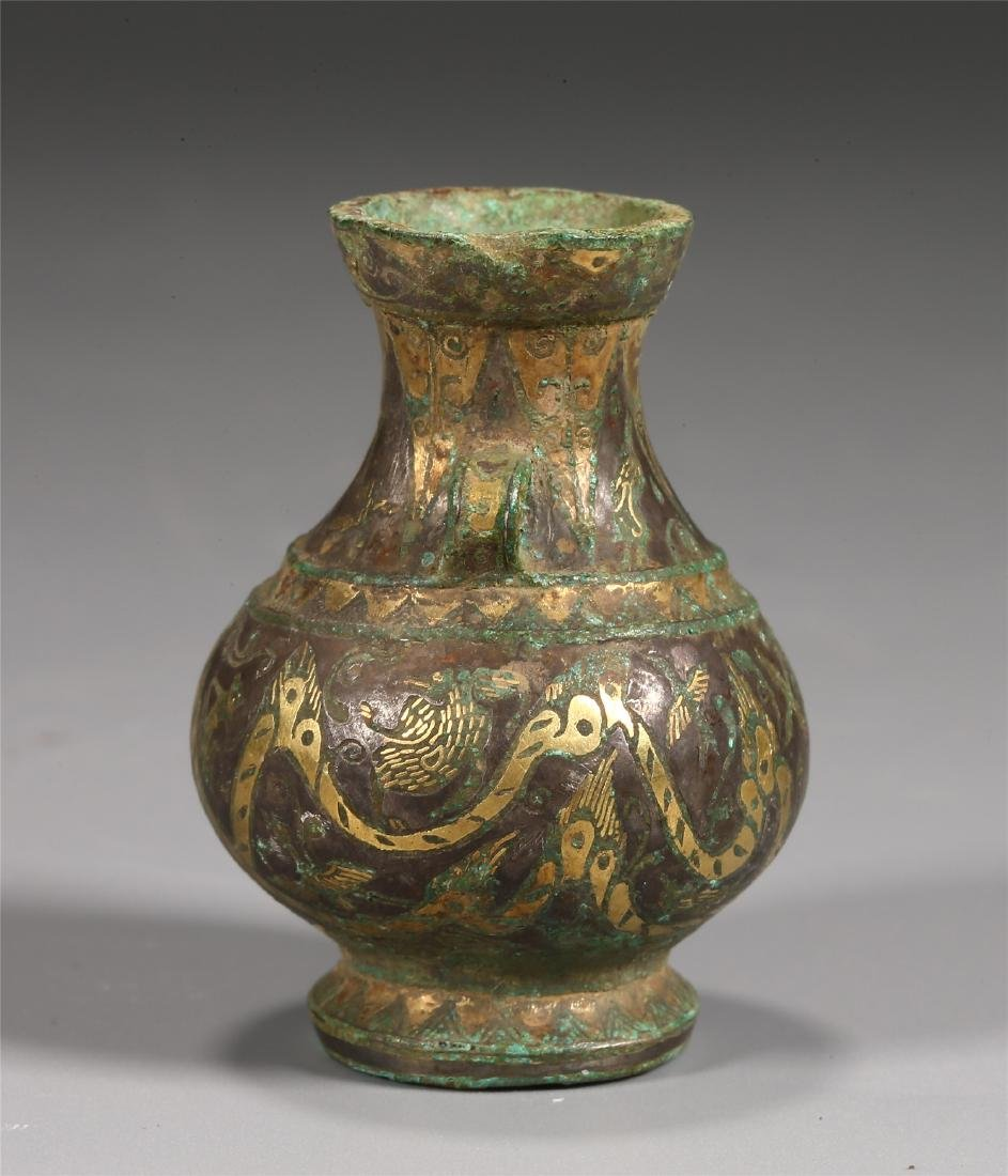 CHINESE GOLD INLAID BRONZE VESSEL - 2