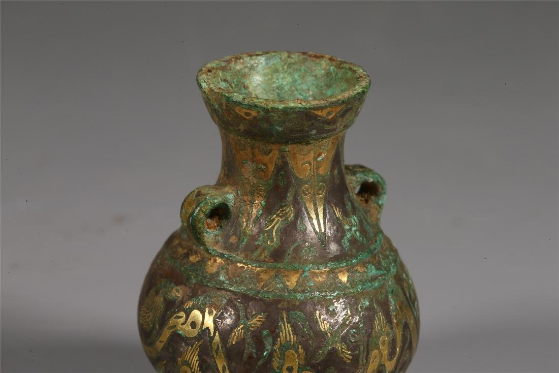 CHINESE GOLD INLAID BRONZE VESSEL - 3
