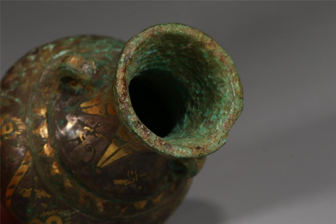 CHINESE GOLD INLAID BRONZE VESSEL - 5