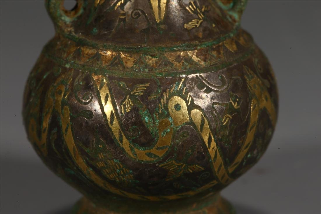 CHINESE GOLD INLAID BRONZE VESSEL - 6