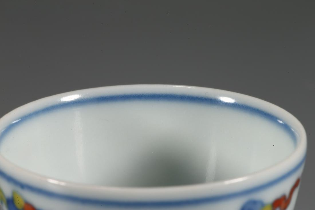 CHINESE WUCAI PORCELAIN CUP - 8