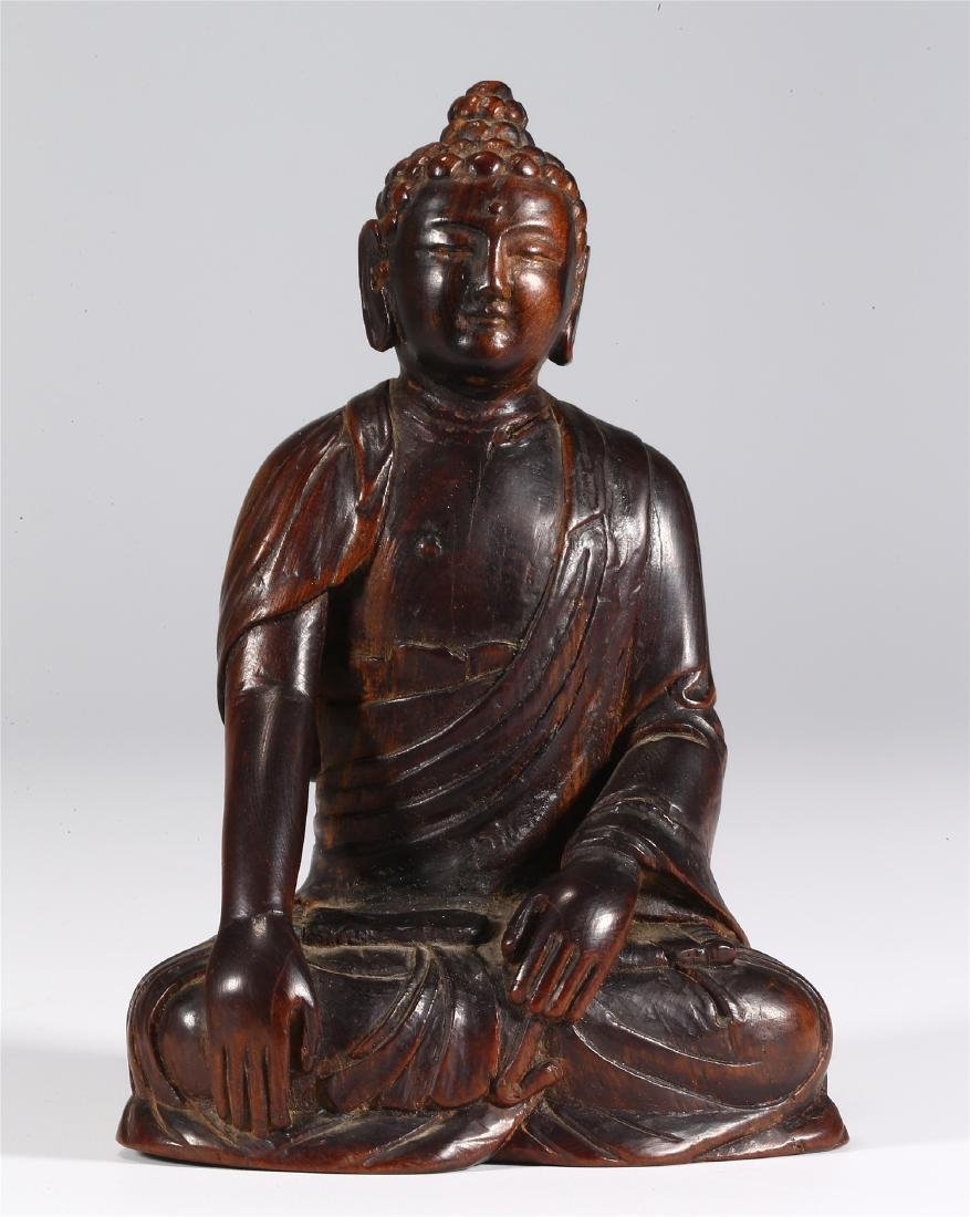 CHINESE WOOD FIGURE OF BUDDHA