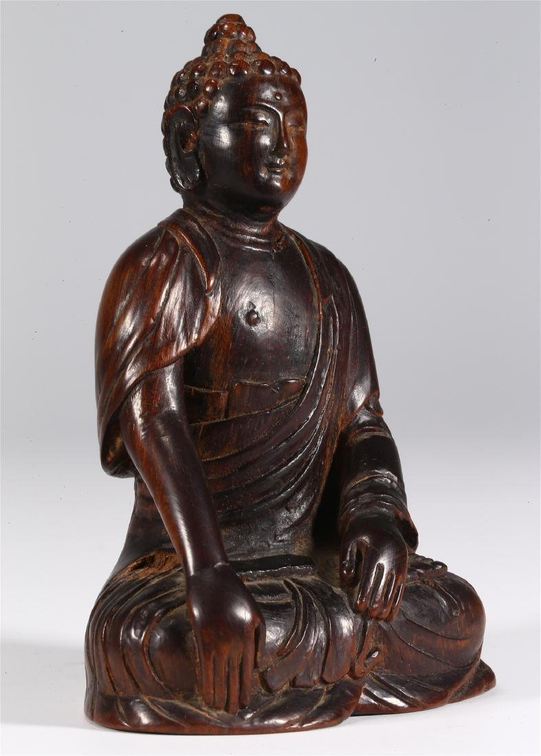 CHINESE WOOD FIGURE OF BUDDHA - 2