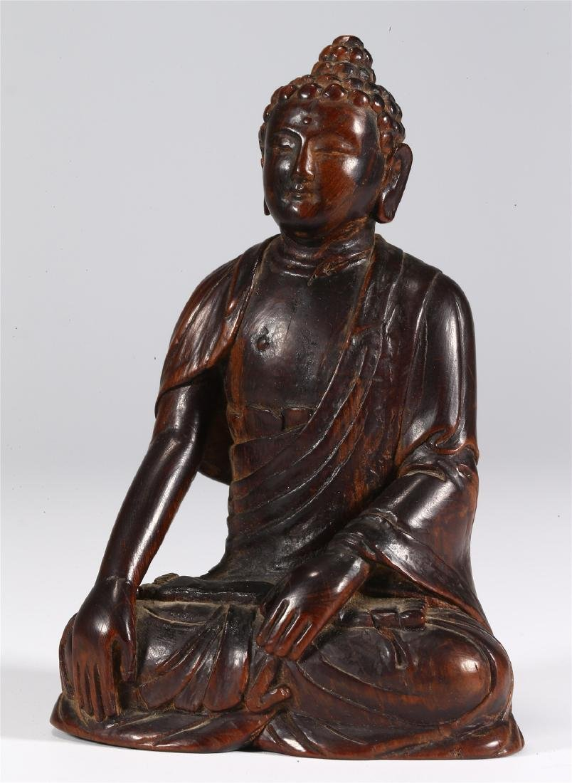 CHINESE WOOD FIGURE OF BUDDHA - 3