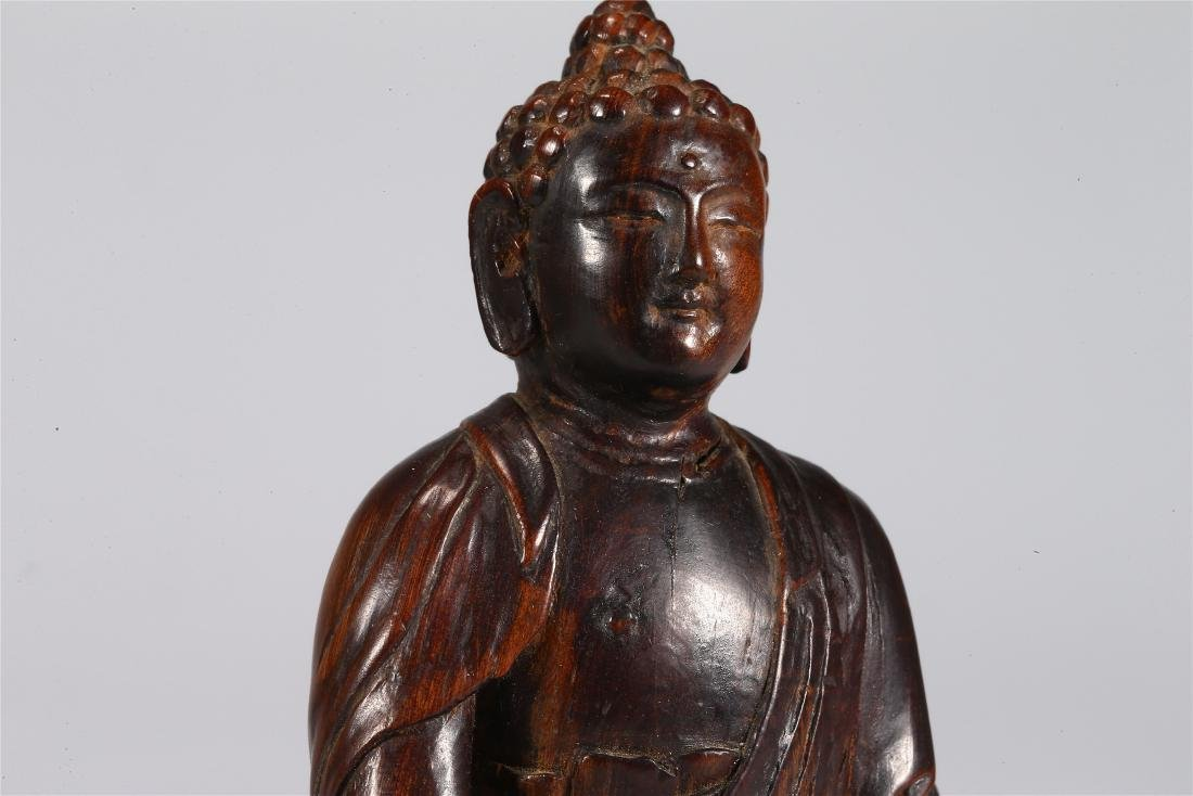 CHINESE WOOD FIGURE OF BUDDHA - 4