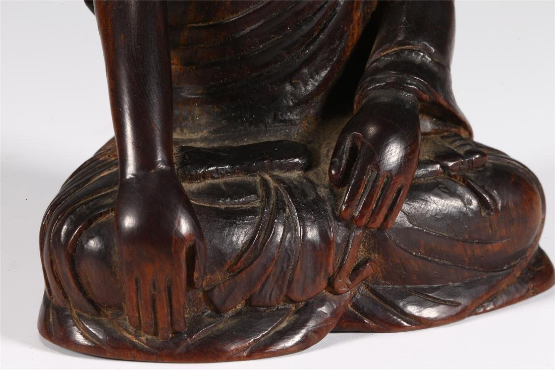 CHINESE WOOD FIGURE OF BUDDHA - 5