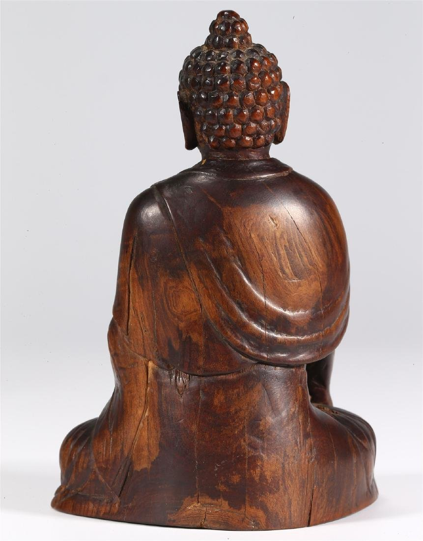 CHINESE WOOD FIGURE OF BUDDHA - 6