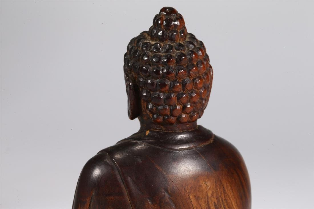 CHINESE WOOD FIGURE OF BUDDHA - 7