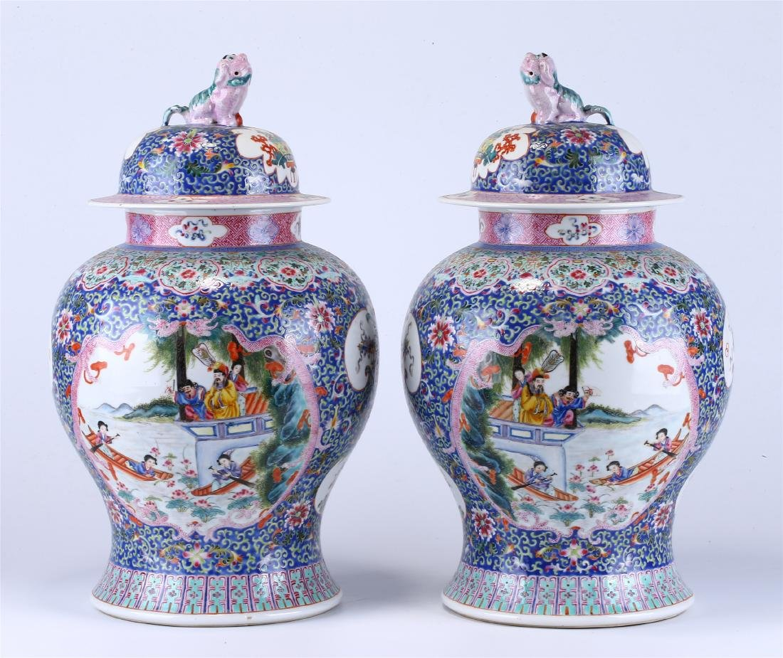 PAIR OF CHINESE FAMILLE ROSE PORCELAIN VASES - 5
