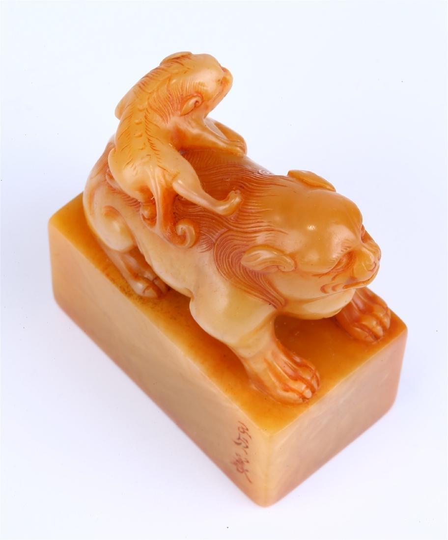 "CHINESE SOAPSTONE ""BEAST"" SEAL - 6"