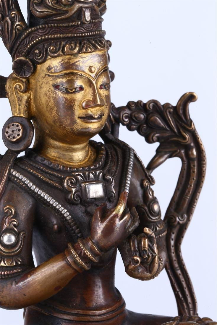 CHINESE BRONZE FIGURE OF GUANYIN - 4