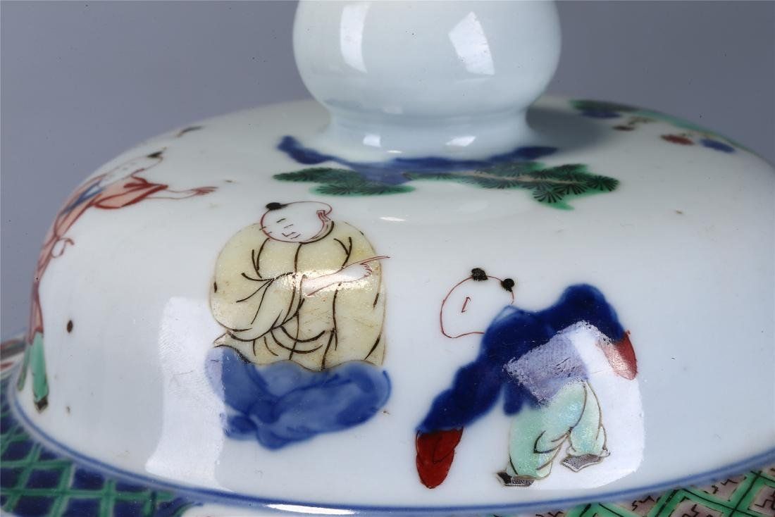 CHINESE WUCAI PORCELAIN GINGER JAR AND COVER - 10