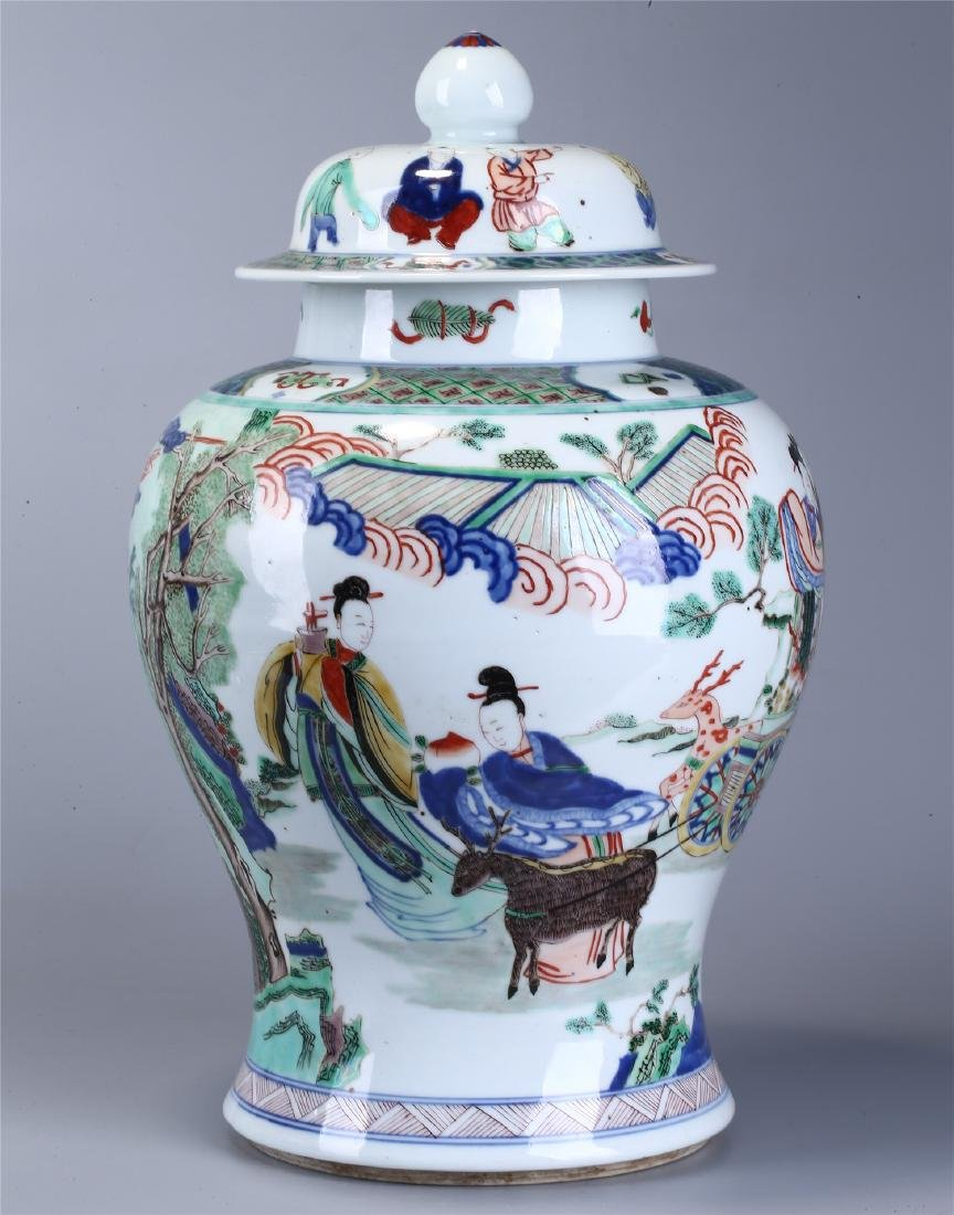 CHINESE WUCAI PORCELAIN GINGER JAR AND COVER