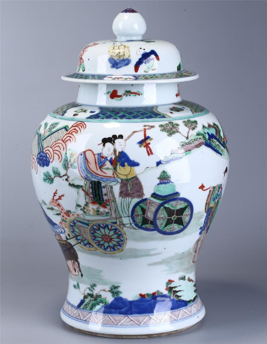 CHINESE WUCAI PORCELAIN GINGER JAR AND COVER - 2