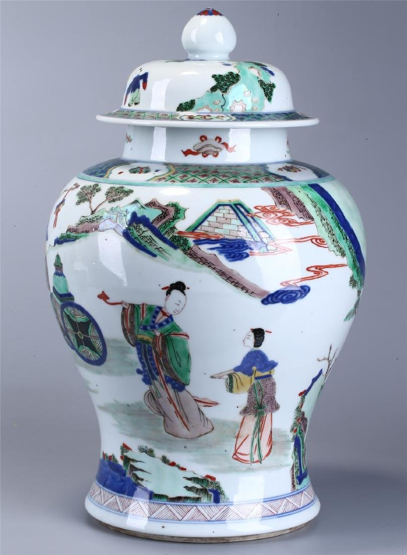 CHINESE WUCAI PORCELAIN GINGER JAR AND COVER - 3