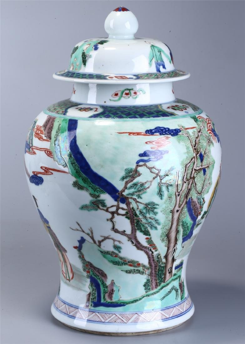 CHINESE WUCAI PORCELAIN GINGER JAR AND COVER - 4