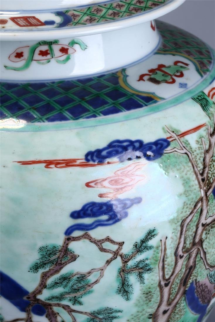 CHINESE WUCAI PORCELAIN GINGER JAR AND COVER - 5