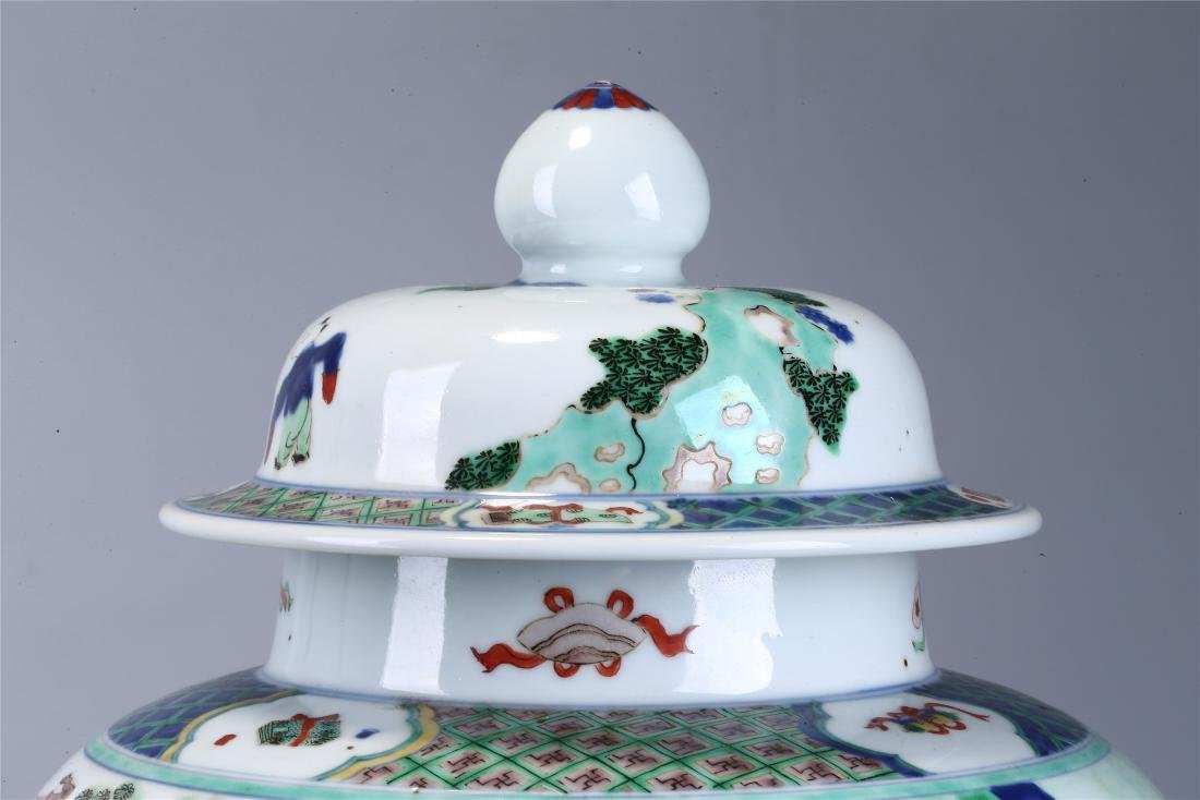 CHINESE WUCAI PORCELAIN GINGER JAR AND COVER - 6
