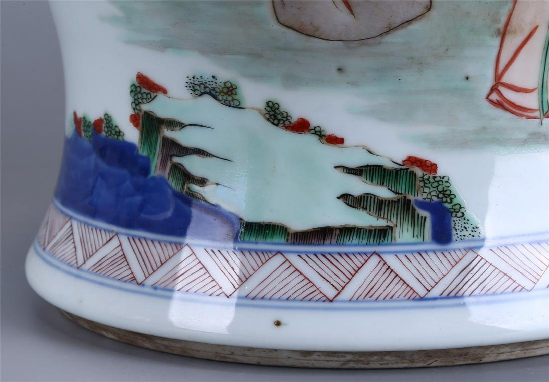 CHINESE WUCAI PORCELAIN GINGER JAR AND COVER - 9