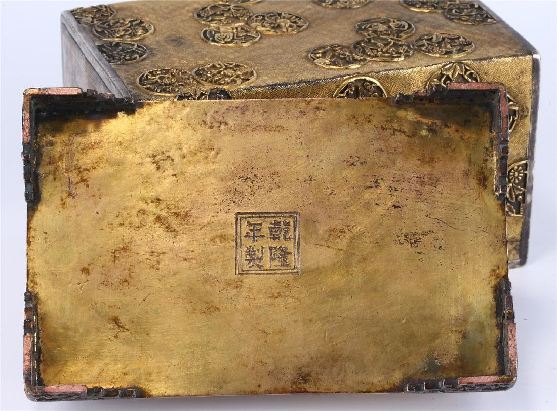 CHINESE GILT BRONZE BOX AND COVER - 10