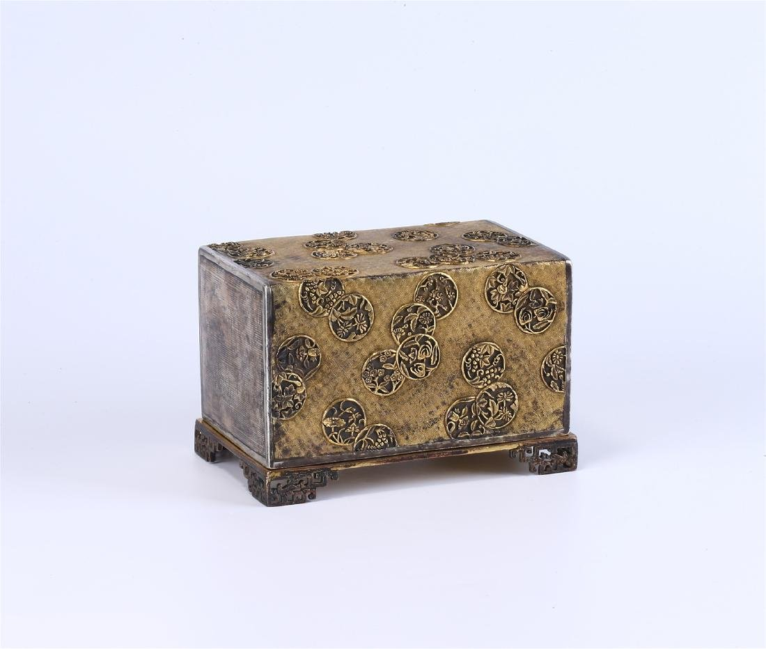 CHINESE GILT BRONZE BOX AND COVER