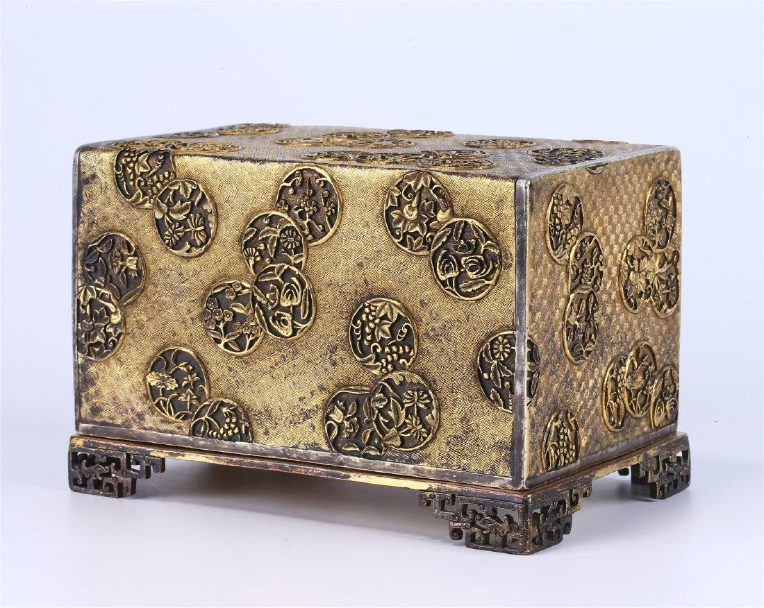 CHINESE GILT BRONZE BOX AND COVER - 2