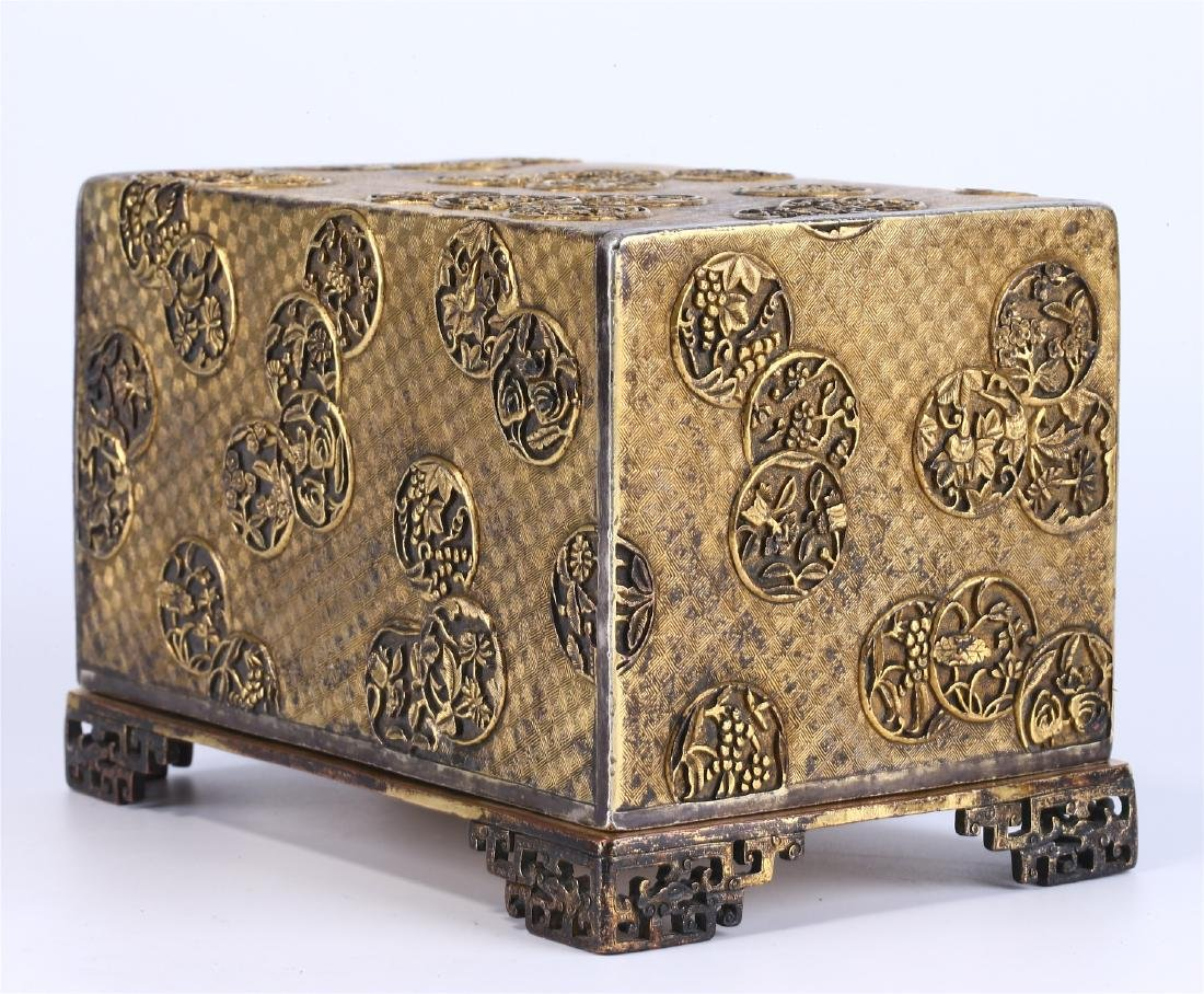 CHINESE GILT BRONZE BOX AND COVER - 4