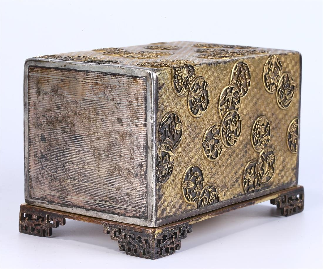 CHINESE GILT BRONZE BOX AND COVER - 5