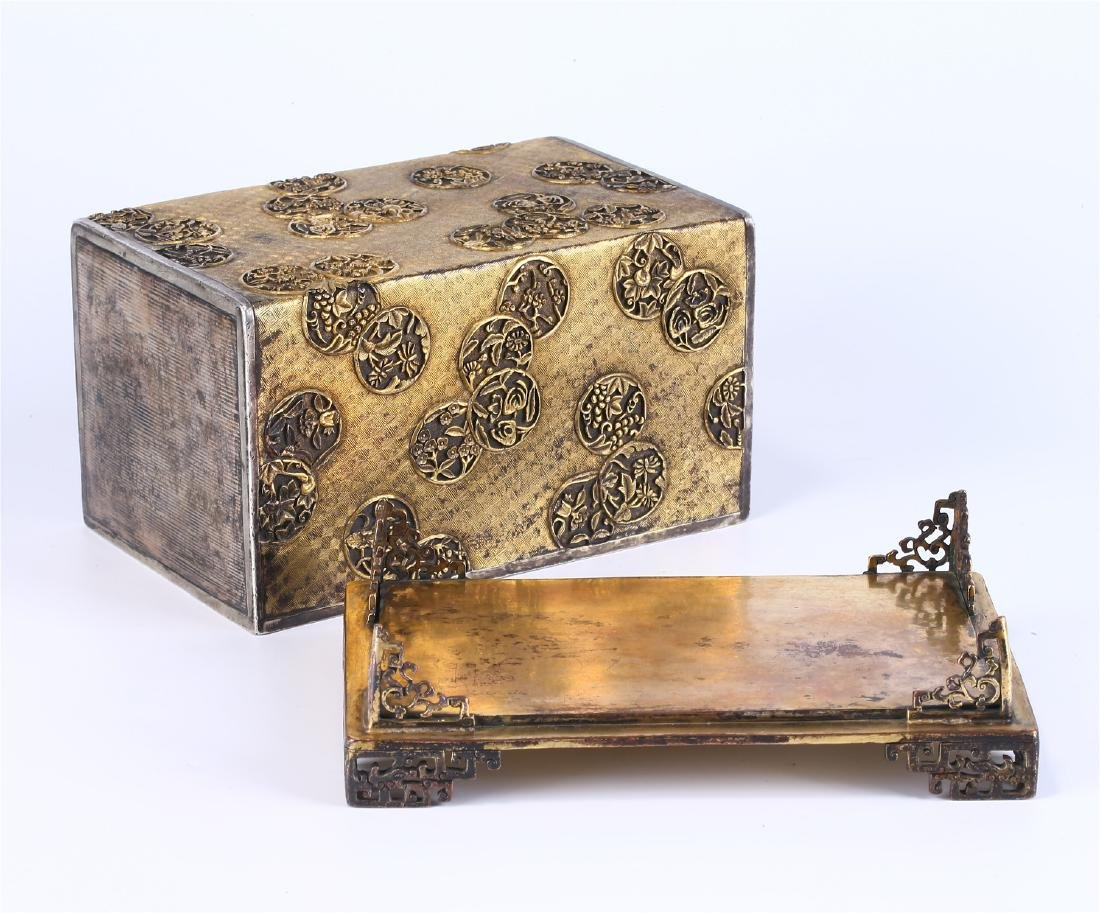 CHINESE GILT BRONZE BOX AND COVER - 6