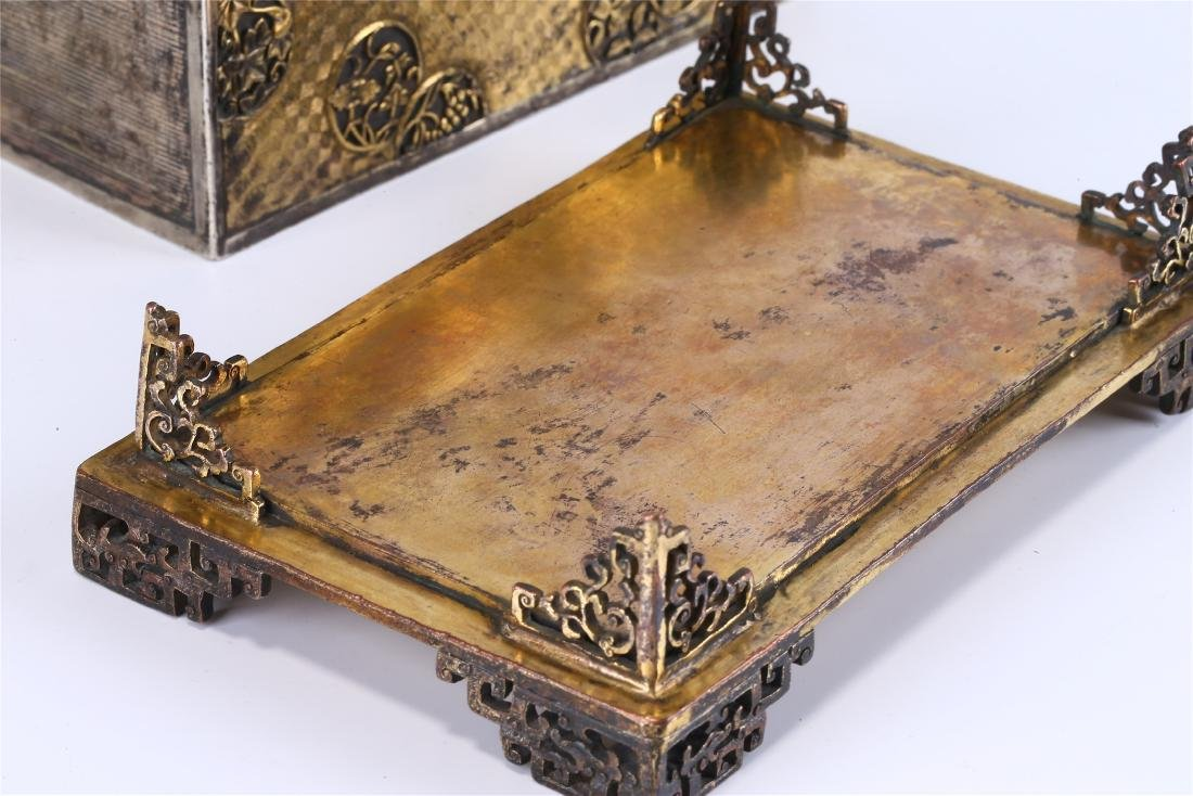 CHINESE GILT BRONZE BOX AND COVER - 7
