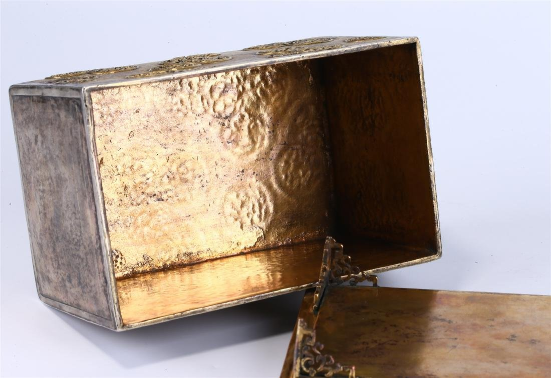 CHINESE GILT BRONZE BOX AND COVER - 9
