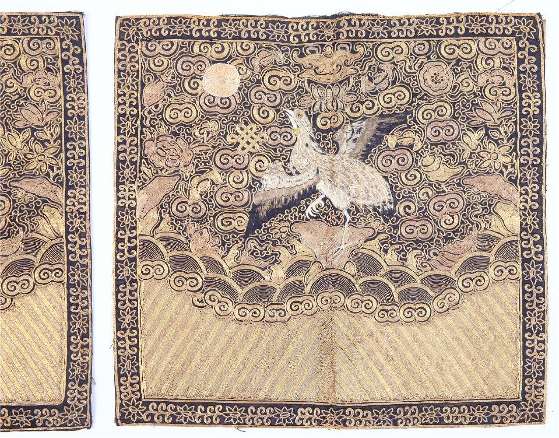 PAIR OF CHINESE EMBROIDERED SILK RANK BADGES - 3