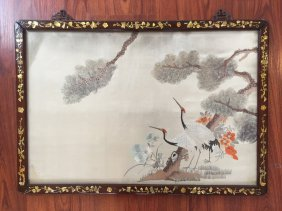 Chinese Embroidered Silk Panel With Wood Frame With