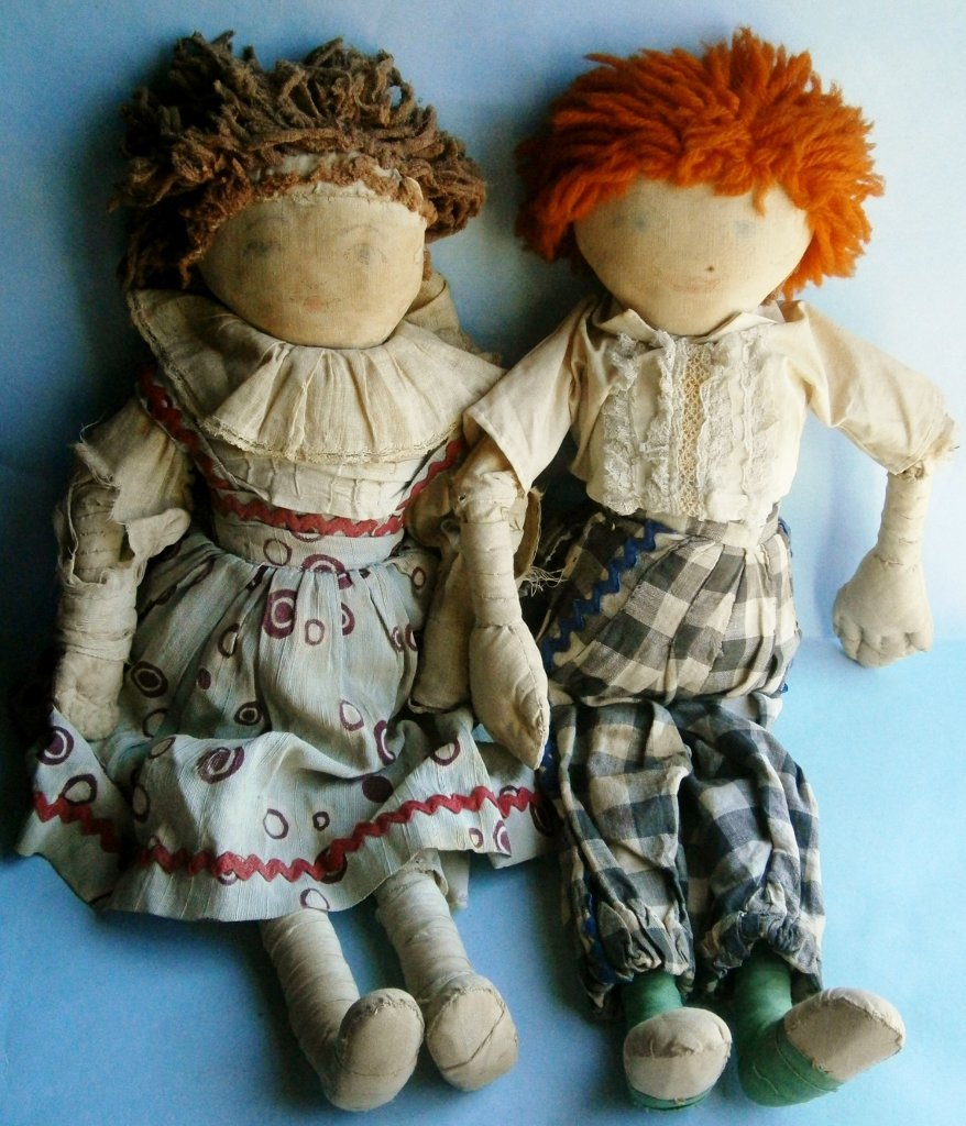 Pair of rag dolls from the early 1900\'s